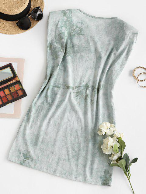 lady Padded Shoulder Sun Graphic Tie Dye Mini Dress - LIGHT GREEN M Mobile