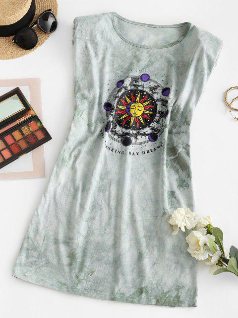 best Padded Shoulder Sun Graphic Tie Dye Mini Dress - LIGHT GREEN S Mobile