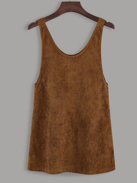 outfit Button Up Tie Shoulder Corduroy Pinafore Dress - COFFEE S Mobile