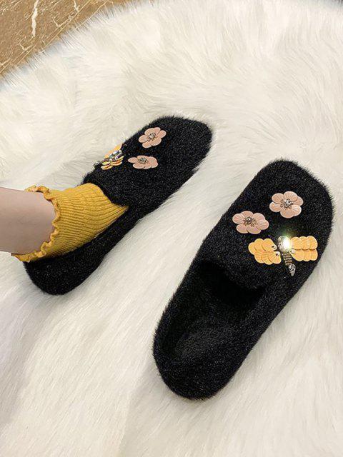 Flower Pattern Plush Flat Shoes - Schwarz EU 38 Mobile