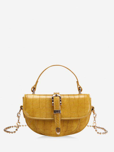 ladies Textured Chain Saddle Hand Bag - YELLOW  Mobile