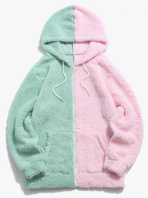 best Color Blocking Panel Teddy Hooded Jacket - LIGHT GREEN S Mobile