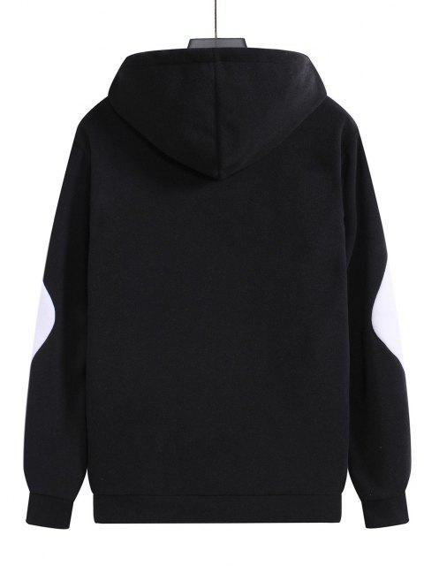 sale Color Blocking Panel Fleece Pullover Hoodie - BLACK 2XL Mobile