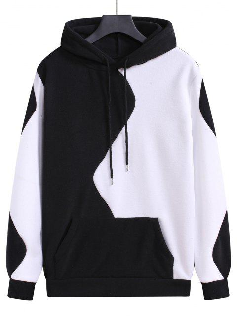 fashion Color Blocking Panel Fleece Pullover Hoodie - BLACK M Mobile