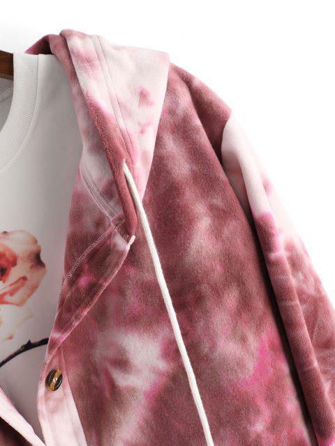 Veste à Capuche Teintée Imprimée Boutonnée en Laine - Rouge foncé M Mobile
