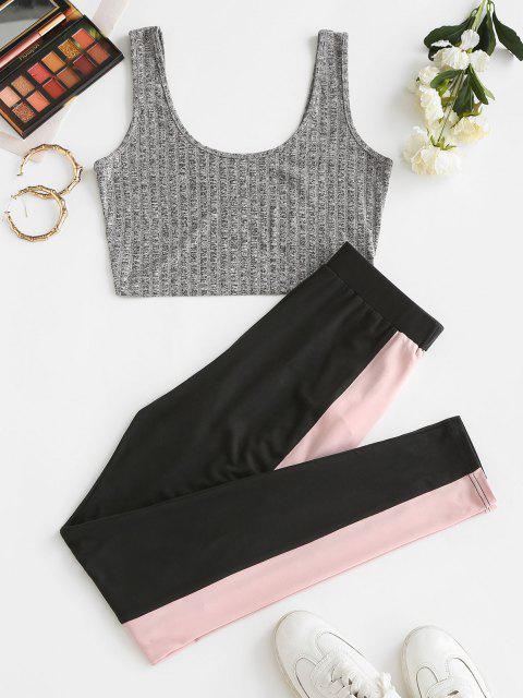 best ZAFUL Knitted Colorblock Sport Pants Set - MULTI-A M Mobile