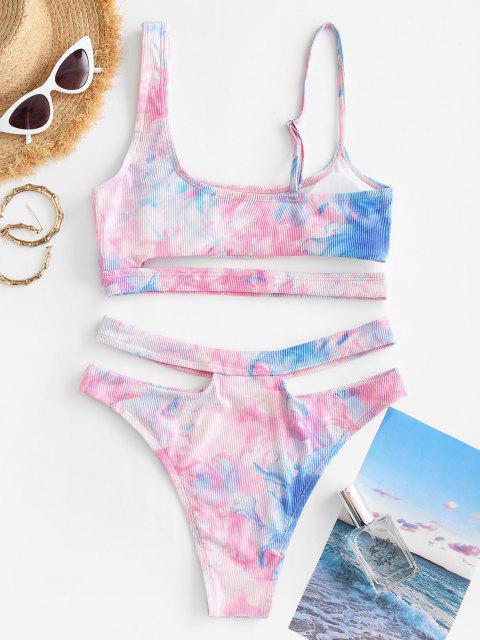 latest ZAFUL High Waisted Tie Dye Ribbed Tankini Swimwear - PINK S Mobile