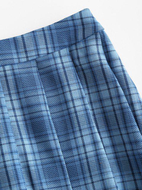 best ZAFUL High Waisted Plaid Pleated Skirt - DAY SKY BLUE XL Mobile