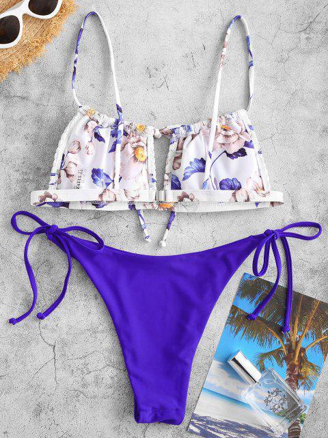 ZAFUL Blumen Kittel Bikini Badebekleidung mit Ausschnitt - Blau S Mobile