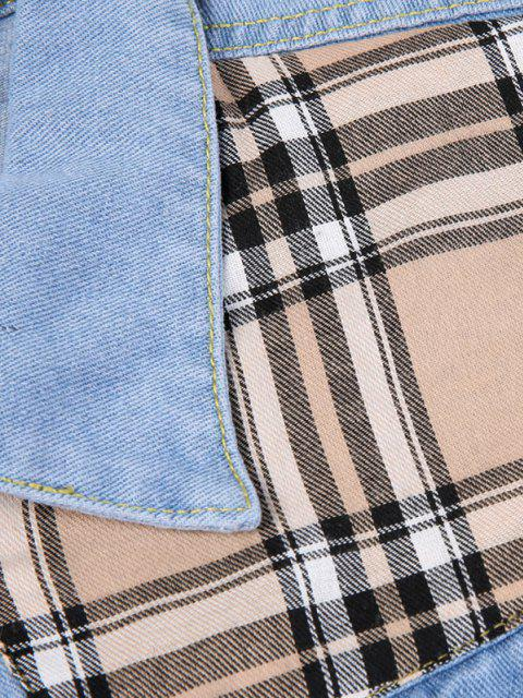 outfits Plaid Patch Scratch Ripped Jean Jacket - LIGHT BLUE S Mobile