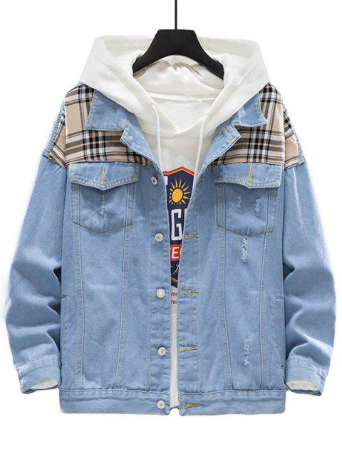 shop Plaid Patch Scratch Ripped Jean Jacket - LIGHT BLUE M Mobile
