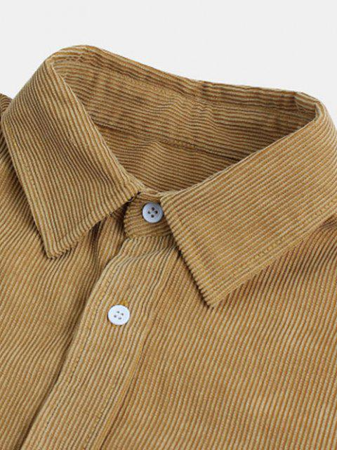 fashion Long Sleeve Solid Pocket Patch Shirt - LIGHT COFFEE M Mobile