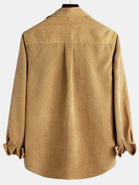 chic Long Sleeve Solid Pocket Patch Shirt - LIGHT COFFEE L Mobile