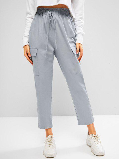 outfit ZAFUL Flap Pocket Frilled Tie Tapered Pants - LIGHT GRAY S Mobile