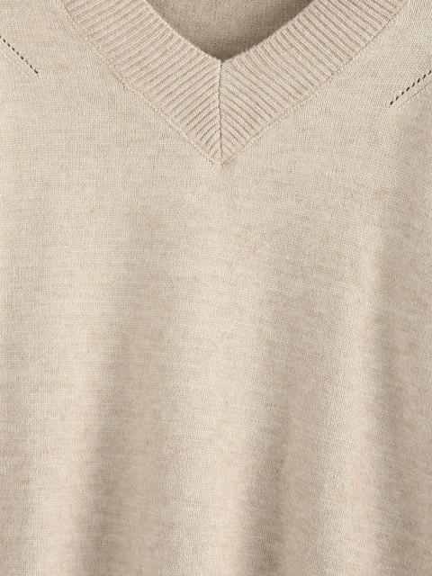 ZAFUL Ausgefranster Hängender Schulter Pullover mit V Ausschnitt - Licht Kaffee L Mobile