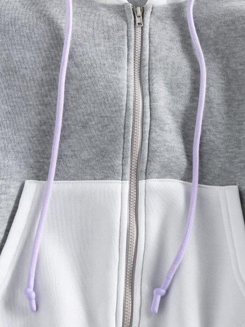 shop ZAFUL Colorblock Drop Shoulder Hooded Jacket - MULTI-A XL Mobile