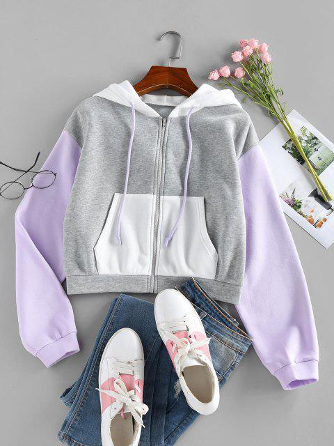 ZAFUL Colorblock Drop Shoulder Hooded Jacket - متعددة-A XL Mobile
