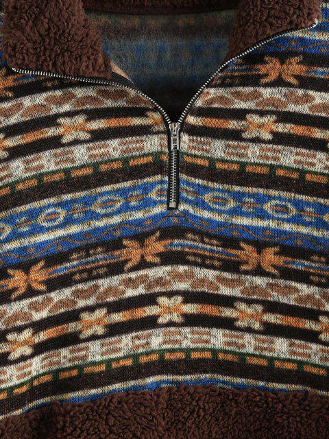 online ZAFUL Ethnic Floral Print Zipper Teddy Sweatshirt - MULTI-A S Mobile