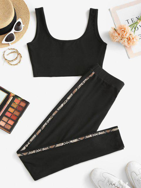 lady ZAFUL Snakeskin Tape Underbust Design Skinny Pants Set - BLACK L Mobile