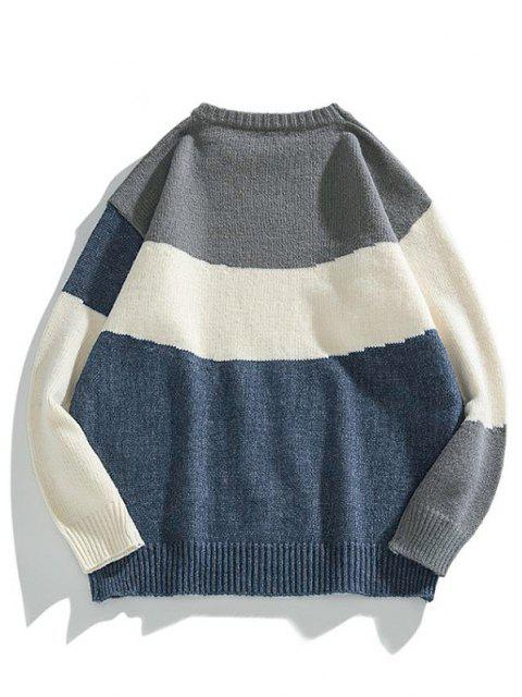 hot Color Blocking Panel Sweater - MIDNIGHT BLUE L Mobile
