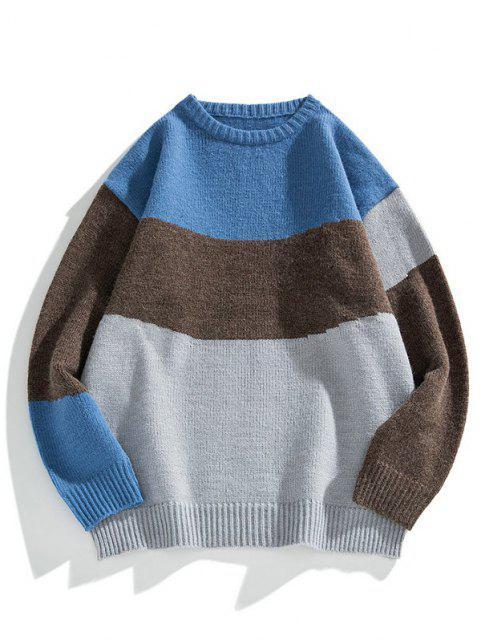 sale Color Blocking Panel Sweater - GRAY CLOUD L Mobile