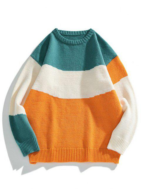 buy Color Blocking Panel Sweater - BEE YELLOW L Mobile