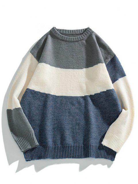 Color Blocking Panel Sweater - منتصف الليل الأزرق S Mobile