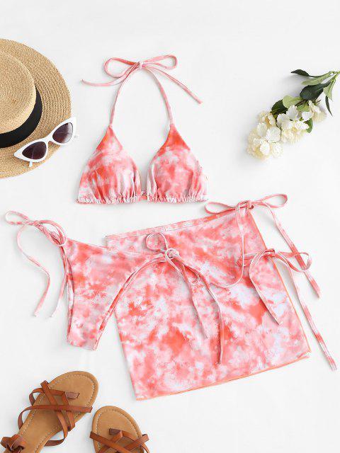 new ZAFUL Halter Tie Dye Three Piece Bikini Swimsuit - LIGHT ORANGE S Mobile