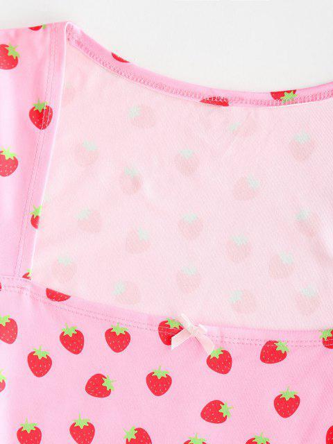 womens Strawberry Print Bowknot Bodycon Dress - LIGHT PINK XL Mobile