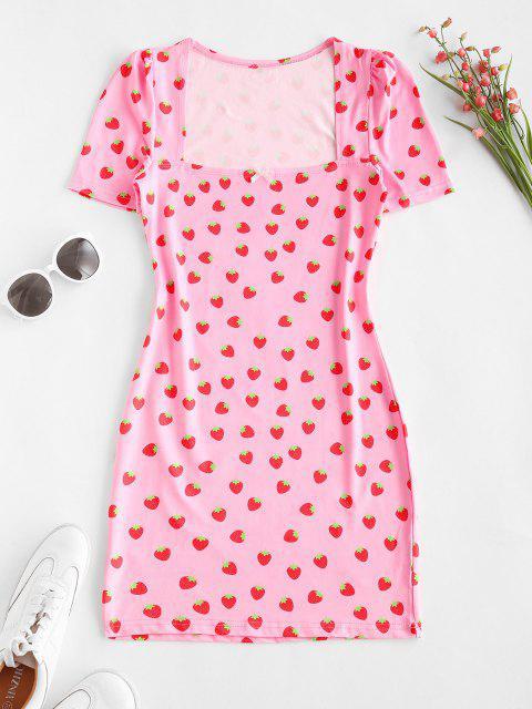 Vestido Ajustado Estampado Fresa Moño - Rosa claro L Mobile