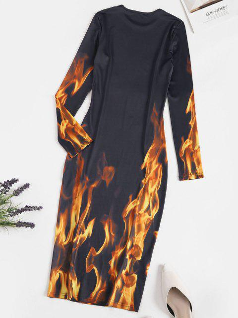 lady Long Sleeve Hot Flame Print Bodycon Dress - DARK SLATE GREY M Mobile