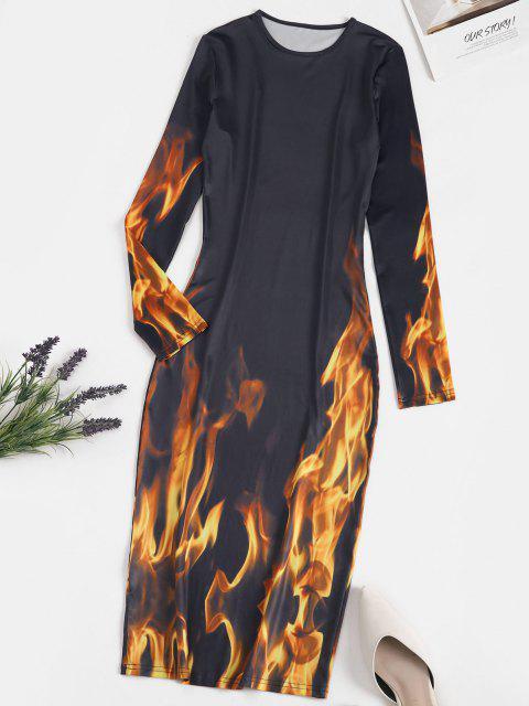 Vestido Al Cuerpo Estampado Flama Manga Larga - Gris Pizarra Oscuro S Mobile