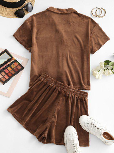fancy ZAFUL Lounge Fleece Pocket Shorts Set - CAMEL BROWN XL Mobile