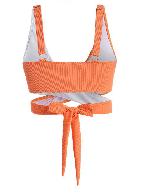 women ZAFUL Plus Size Ribbed Two Tone Wrap Bikini Top - DARK ORANGE XL Mobile