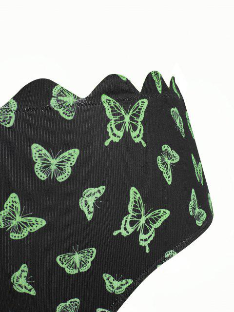 ZAFUL Bas de BikiniFestonnéCôtelé Papillon Imprimé de Grande Taille - Noir XXXL Mobile
