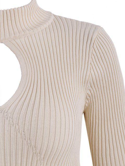 Blusa Tricotada Plana com Decote de Laço e Nervuras nas Costas - Damasco Um Tamanho Mobile