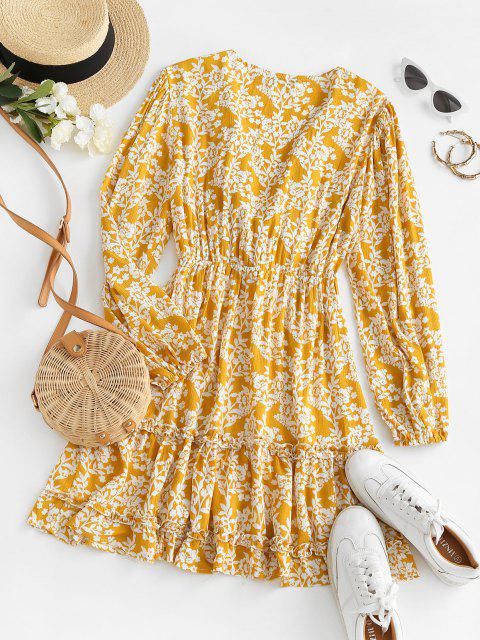 fashion Tie Front Floral Ruffles Long Sleeve Dress - DEEP YELLOW M Mobile