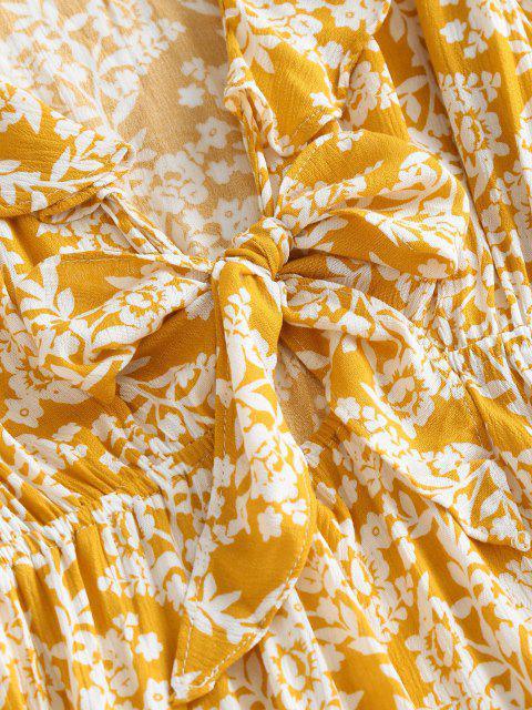 Vestido con Manga Larga con Estampado Floral con Lazo Frontal - Amarillo profundo S Mobile