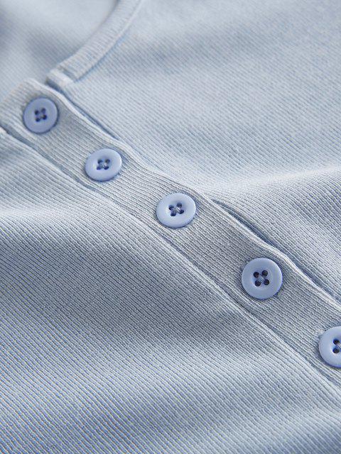 Camisola Cortada Meio Botão - Azul L Mobile