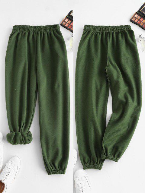 Vlies Gefütterte Tasche Beam Füße Hoch Taillierte Hose - Dunkelgrün M Mobile