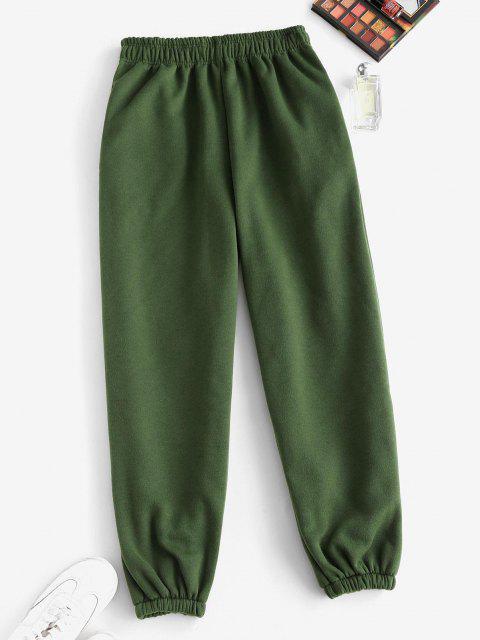 Pantalones de Cintura Alta con Bolsillos de Lana - Verde Oscuro M Mobile