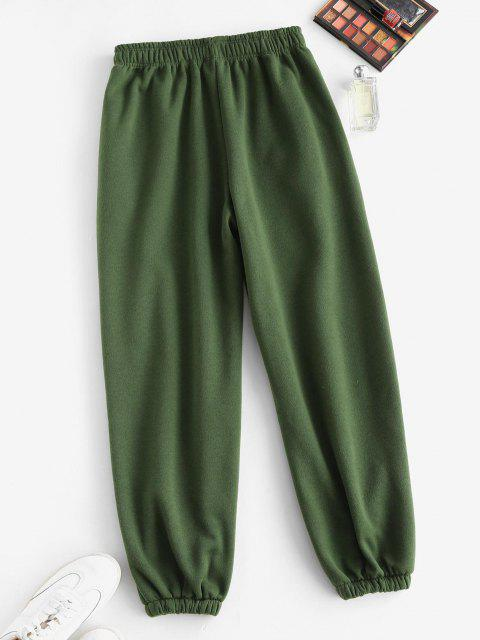 FleeceGefütterte Tasche Beam Füße Hoch Taillierte Hose - Dunkelgrün S Mobile