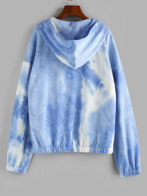 ladies ZAFUL Tie Dye Drop Shoulder Zip Up Hoodie - LIGHT BLUE M Mobile