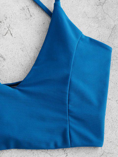 ZAFUL Maillot de Bain Tankini Fleur Imprimée à Coupe Haute à Lacets - Bleu Cobalt S Mobile