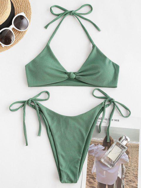 ZAFUL Bikini Trenzado Acanalado de Nudo - Verde claro S Mobile