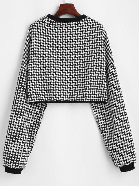 womens Houndstooth Boxy Tweed Sweatshirt - MILK WHITE ONE SIZE Mobile