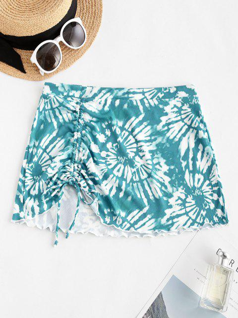 new ZAFUL Tie Dye Cinched Ribbed Lettuce Trim Beach Skirt - BLUE L Mobile