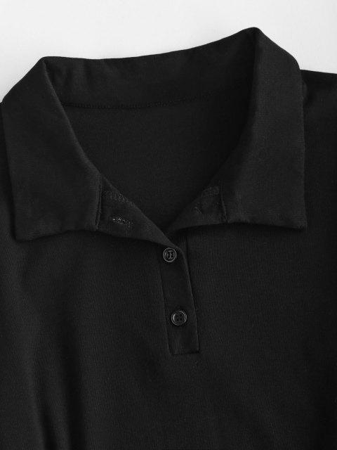 online Knotted Overlap Long Sleeve Henley Dress - BLACK S Mobile