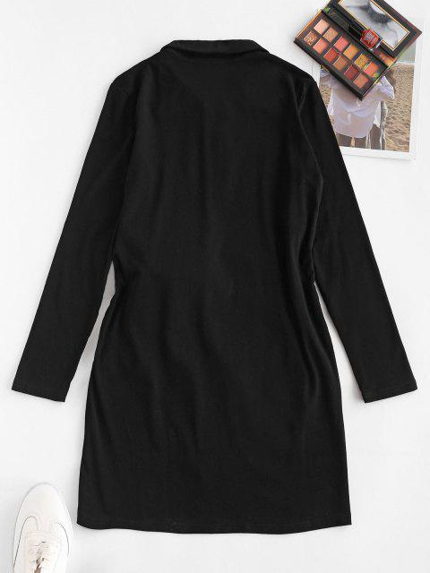 Robe Henley Superposée Nouée à Manches Longues - Noir M Mobile