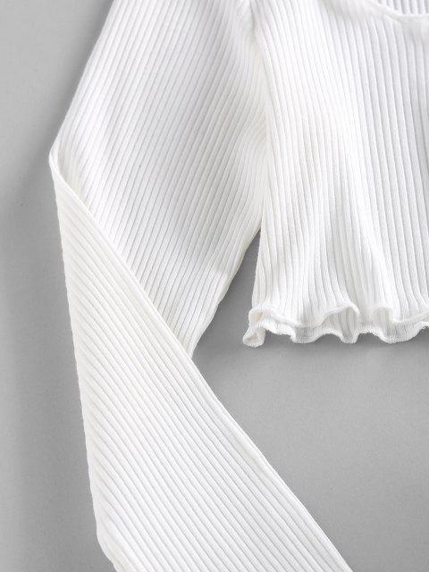 T-Shirt Corta a Costine di ZAFUL con Taglio Ondulato - Bianca M Mobile